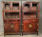 Chinese Antique Pair of Carved Wood Display Cabinets