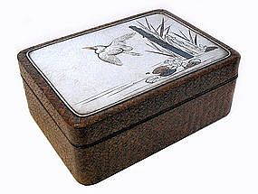 Japanese Woven Wood and Silver Box with Herons