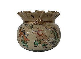 Japanese Satsuma ware bowl in the shape of Money Pouch