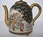 Antique Satsuma teapot Cherry Blossom Viewing