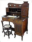 Antique Curved Chinese Desk with Marble Insets