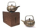 Antique Pair of Japanese Bronze and Silver Sake Warmers