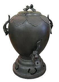 Antique Japanese Large Bronze Temple Water Dispenser