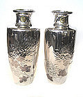 Exquisite Pair of Japanese Silver Vases with Flowers