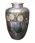 Japanese Silver and Mixed Metal Vase with Flowers
