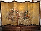 6-Panel Japanese Gold-leaf Floral Screen, Meiji Period