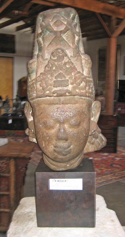 Indian 9th Century Stone Head of Vishnu