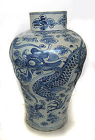 Large Korean Blue and White Dragon Vase