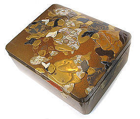Large Japanese Lacquer Document Box with Poets