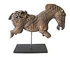 Antique Thai Carved Wood Horse on Stand