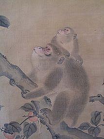 Antique Japanese Monkeys Scroll signed Mori Sosen