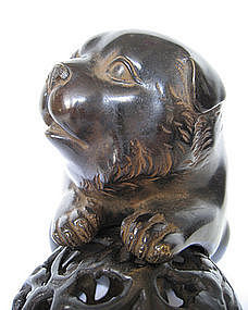 Adorable Antique Japanese Bronze Puppy with Ball
