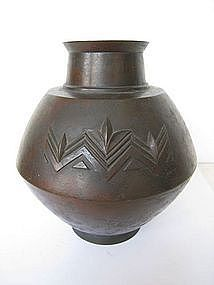 Japanese Deco Period Bronze Vase