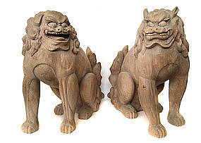 Wonderful Japanese Antique Wooden Fu-dogs