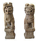 Chinese Antique Pair of Stone Lions
