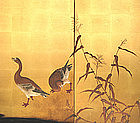 Japanese Antique 4-panel Screen Painting with Geese