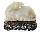 Chinese White Jade Horse on Wooden Stand