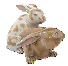 Japanese Pair of Kutani Ware Porcelain Rabbits