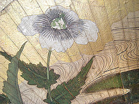 Japanese Antique Screen Painting with Fans