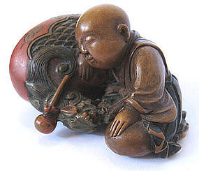 Japanese Antique Boxwood Netsuke of Sleeping Monk