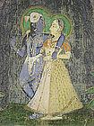 Indian Pichhwai Temple Painting of Radha and Krishna