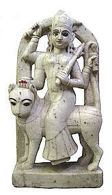 White Marble Indian Figure of Goddess Durga on Lion