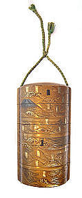 Japanese Antique Gold Lacquer Inro