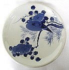 Japanese blue and white plate with dove