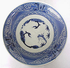 Japanese blue and white glazed Imari plate