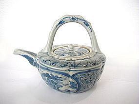 Japanese blue and white glazed teapot