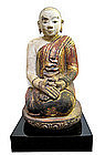 Burmese Large Dry Lacquer Figure of Seated Monk
