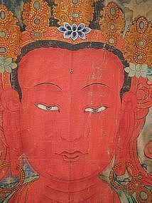 Huge Tibetan Antique Thangka of Amitayus