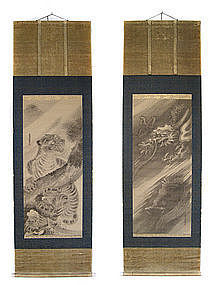 Japanese Pair of Scrolls with Tiger and Dragon