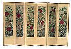 Antique Korean 6 panel Butterfly and Peony Screen