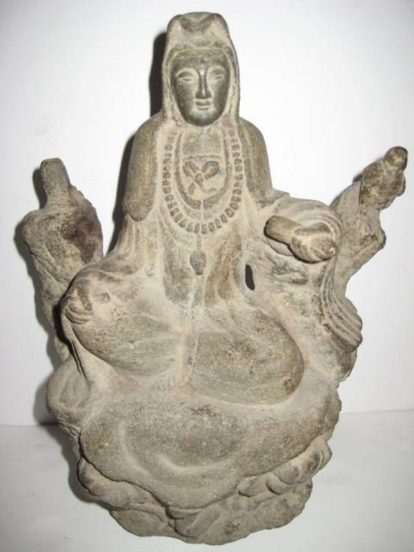 Chinese Ming Black Stone Seated Quanyin