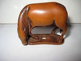 Japanese Edo Period Horse Boxwood Netsuke