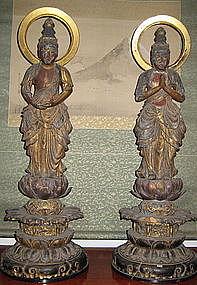 Japanese Pair Antique Attendant Bodhisatvas
