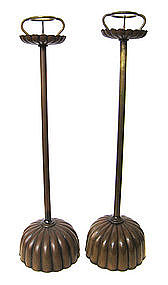 Pair of Antique Japanese Copper Candlesticks