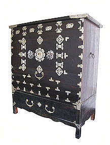 Korean Antique Head Side Chest with Inlay