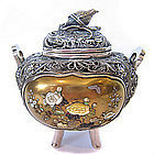 Japanese Silver and Shibayama Censor with Quail