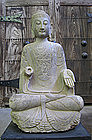 Chinese Antique Stone Seated Buddha