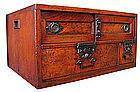Japanese Keyaki Sakata Chobako (Merchant's Safe Box)