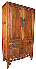 Chinese Tall Elm Wood Cabinet