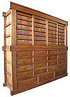 Japanese Large 2-section 19 Drawer Merchant's Tansu
