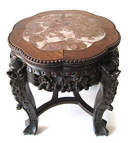 Chinese Antique Carved Low Table with Marble Top