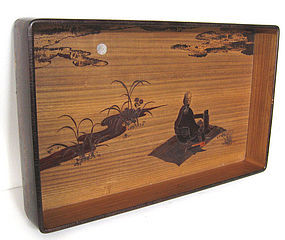 Japanese Antique Kiri and Cherry Wood Tray