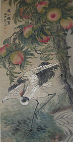 Chinese Antique Crane and Peaches Scroll